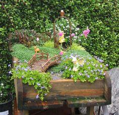 Fairy Garden in a Wood Wagon
