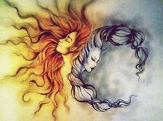This would be a good gemini tattoo. Another thing you could do was turn this into a frozen tattoo with Anna as the sun and Elsa as the moon