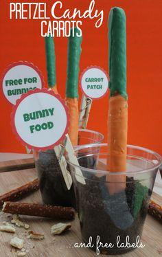 Pretzel Candy Carrots Recipe + FREE Labels!