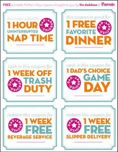 Dad Approved: Free Printable Father's Day Coupons!   The Dadabase