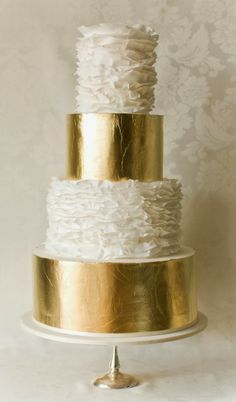 gold and ruffled cake