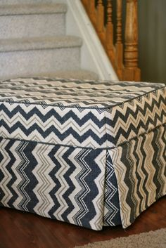 Custom Slipcovers by Shelley: Ikat Chevron Ottoman