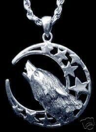 Silver 925 Celtic Wolf Pendant Charm Moon Goddess Star