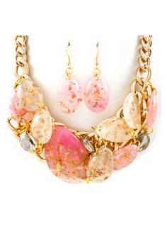 Gold Flake May Necklace in Soft Blush