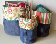 Denim Do-it-All Bins. have an extra pair of jeans lying around that are outgrown, out of fashion or worn out in some way? Put that denim to good use by making a few Denim Bins. great for organizing your yarn stash, magazines, or craft supplies.