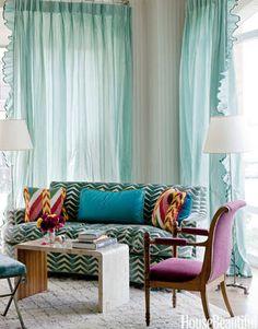 "The box-pleat ruffles on the unlined silk taffeta curtains — Dedar's Big Bang — ""give you a sense of fantasy and femininity,"" says designer Miles Redd."