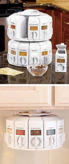 Space-Saver Spice Carousel With Built In Measurements ♥ {You can stack them or mount under a cabinet}