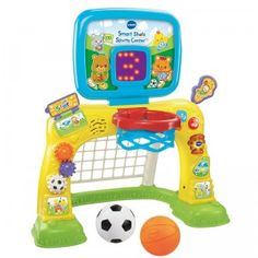 The Smart Shots Sports Center allows babies and toddlers to play basketball and soccer.
