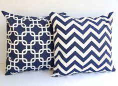 "Throw pillow covers set of two 18"" x 18"" Navy Chevron zig zag and Navy Gotcha. $30.00, via Etsy."