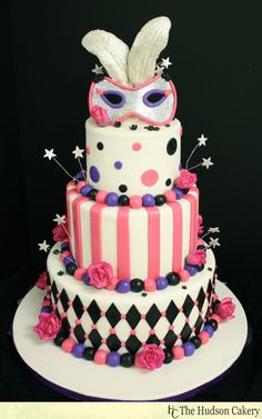 Sweet 16 Masquerade Feather Cake - pink, purple, silver and black accents