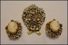 Vintage Signed FLORENZA Gold Cameo Portrait Earrings Pearl Flower Bouquet Pin Brooch.