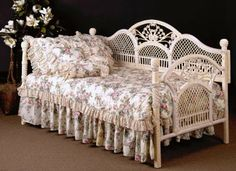 """""""Sophia"""" white wicker day bed from Victorian Trading Co."""