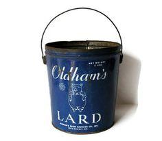 Blue Metal Lard Bucket with Pig Graphic by veraviola on Etsy,