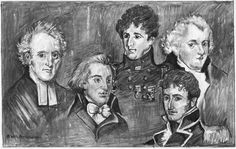 Jane Austen's brothers from the left: Henry, James, Frank, Edward, and Charles (bottom right.) There is no image of the 6th brother, George, who was disabled or mentally challenged, and did not live with the family.