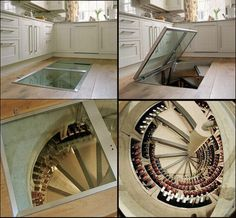 Trap Door in the kitchen floor that leads down to a wine cellar! Baller!