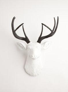 Deer head with black antlers