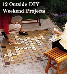 family bbq ideas, weekend projects, ideas party garden, scrabbl board, summer outdoor projects, diy weekend, scrabble outdoor, outdoor scrabbl, candelabra diy