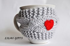 Mug Cozy with Red Heart Coffee Mug Cozy grey color by LilacGifts