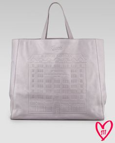 Large Leather Tote, Gray - Gucci for Bergdorf Goodman's 111th anniversary