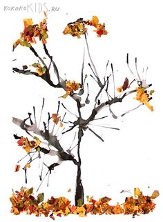 Blow painting and crushed leaves make a striking fall tree... great art project for autumn.  {kokokoKIDS: Fall Art.}