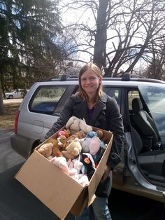 Donate stuffed animals to the fire department - they take gently used toys and dolls to help comfort kids who have been in traumatic situations. (30 Random Acts of Kindness in 30 Days)