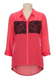 High-low Contrast lace button front blouse