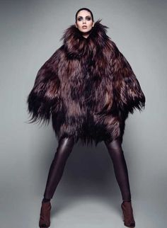 YETI by Jose Herrera, black long-haired fur coat paired with leather tights - pinned by RokStarroad.com ~ unleash your inner RokStar - fashion, pop and mental health