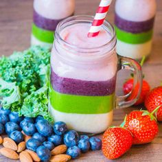 Rainbow smoothies (banana, blueberry, kale, strawberry) - no artificial colors here! via kitchen sanctuary