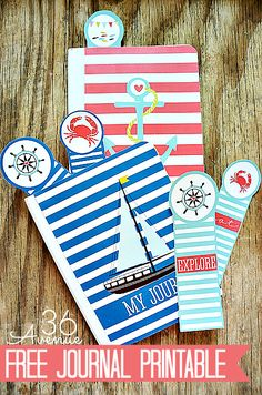 Free Nautical Journal Printable at the36thavenue.com Such a cute way to keep a record of Summer memories!