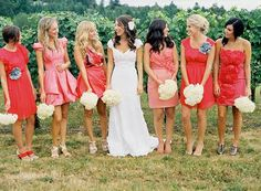 LOVE this wedding. Local Portland blogger used perfectly mismatched coral bridesmaids dresses for her wedding. Swoon!!!