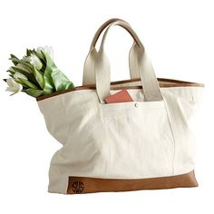 Mark And Graham Canvas with Leather Tote