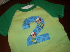 Toddler Boys 2nd Second Birthday Handy Manny Birthday Shirt-handy manny, birthday, party, one, first, second, two, green, raglan, onesie