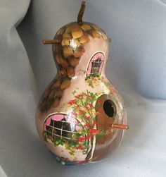 Hand Painted Gourd Bird House Brown Cottage