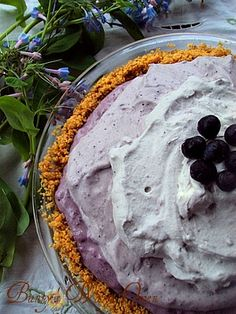 Blueberry Cream Chiffon Pie (picture tutorial) for Derby Day