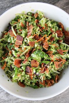 "Bacon and Brussels Sprouts Salad Recipe - from <a href=""http://RecipeGirl.com"" rel=""nofollow"" target=""_blank"">RecipeGirl.com</a>"