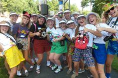 Disney Tourists--lots of disney shirts, hats, backpacks, etc