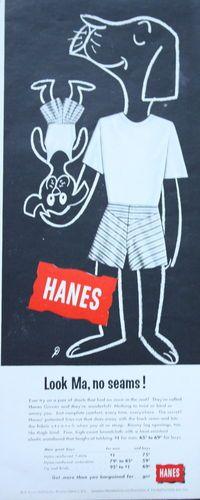 1950s ad Mens Underwear HANES Boxers Dogs