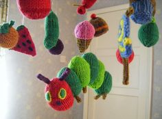 The Very Hungry Caterpillar knitted mobile!    Soon to but on Etsy!    http://www.etsy.com/shop/conniemariepfost?page=2