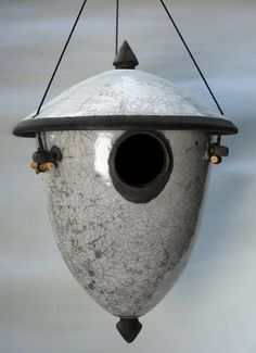 White Cracle Raku Lidded Bird House by ringoffirepottery on Etsy