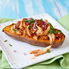Whole 30 - BBQ Chicken Stuffed Sweet Potato via Confections of a Foodie Bride