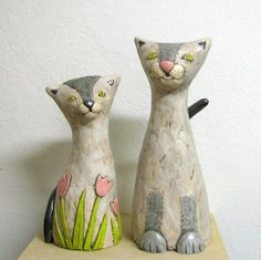 cats, cat art, sculptures, ceram cat, bride sculptur, brides, groom, potteri, cat bride
