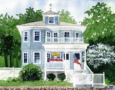 Father's Day gift idea. Custom Home/House Portrait Watercolor 9X12 by artworm on Etsy, $150.00