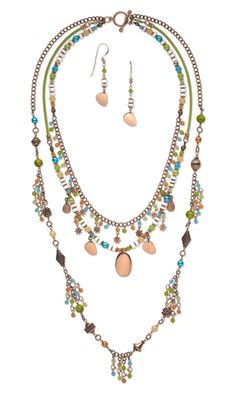 Triple-Strand Necklace and Earring Set with Czech Pressed Glass Beads, Copper Beads, Drops and Links and Litub Shell Beads by Esther Pollock.