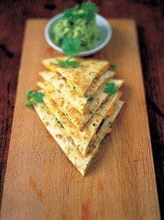 A quesadilla and guacamole and soured cream. Use gluten free wraps.