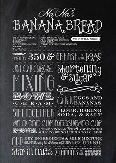 Typography recipes - Banana Bread