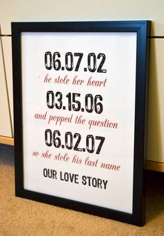 Wedding sign 11x14 print- our love story- he stole her heart- stole his last name- important dates- subway art- anniversary gift. $14.00, via Etsy. wall decor, ador idea, wedding ideas, gift ideas, hous, anniversary gifts, wedding signs, important dates, wedding gifts