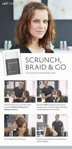 Here's a quick trick to style your hair in minutes when you're on the go! #Sephora #midlengthhair #braids #waves #livingproof #perfecthairday #chrismcmillan #hairstyle #quickstyles