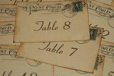 Wedding Table Number Cards Vintage Postcard by GreenAcresCottage