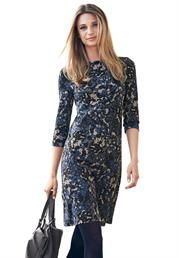 Floral Stretch Knit Sheath dress with boat neck & 3/4 sleeves. #FallDresses #PlusSize