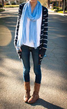 scarf and I would add a crossbody purse.